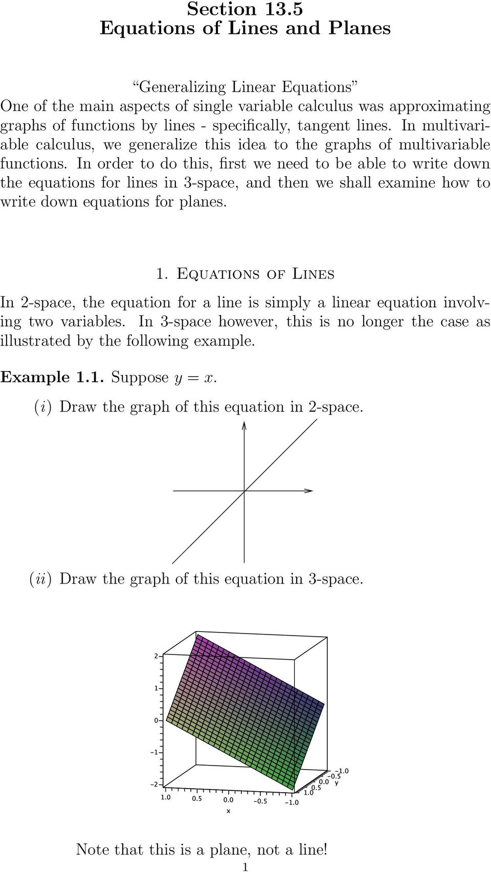 Section 13 5 Equations of Lines and Planes - PDF