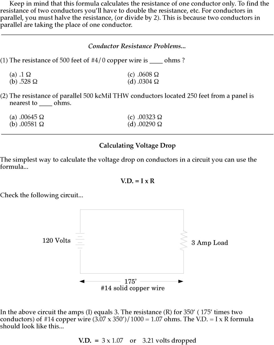 Voltage Drop Single Phase Pdf Resistor Formula Above We Can Calculate The Total Circuit Resistance 1 Of 500 Feet 4 0 Copper