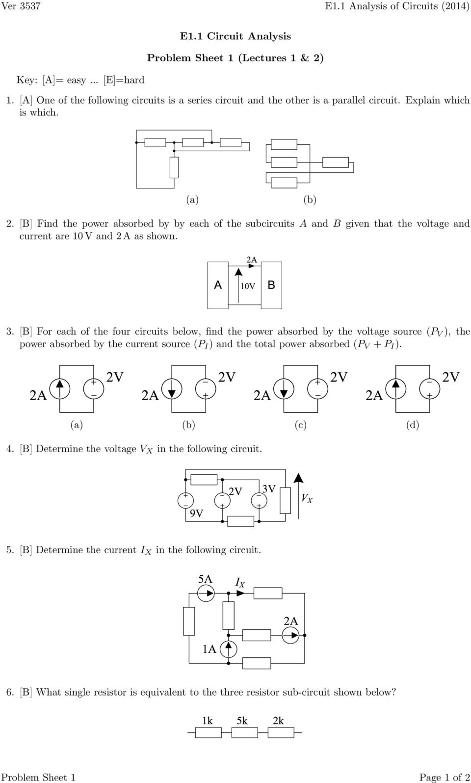Ver 3537 E11 Analysis Of Circuits 2014 Circuit In The Opamp Howland Current Source Noninverting B Find Power Absorbed By Each Subcircuits A And