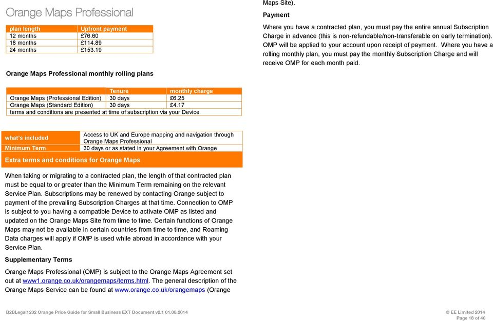 Orange price guide for small business. Our home for service plans.