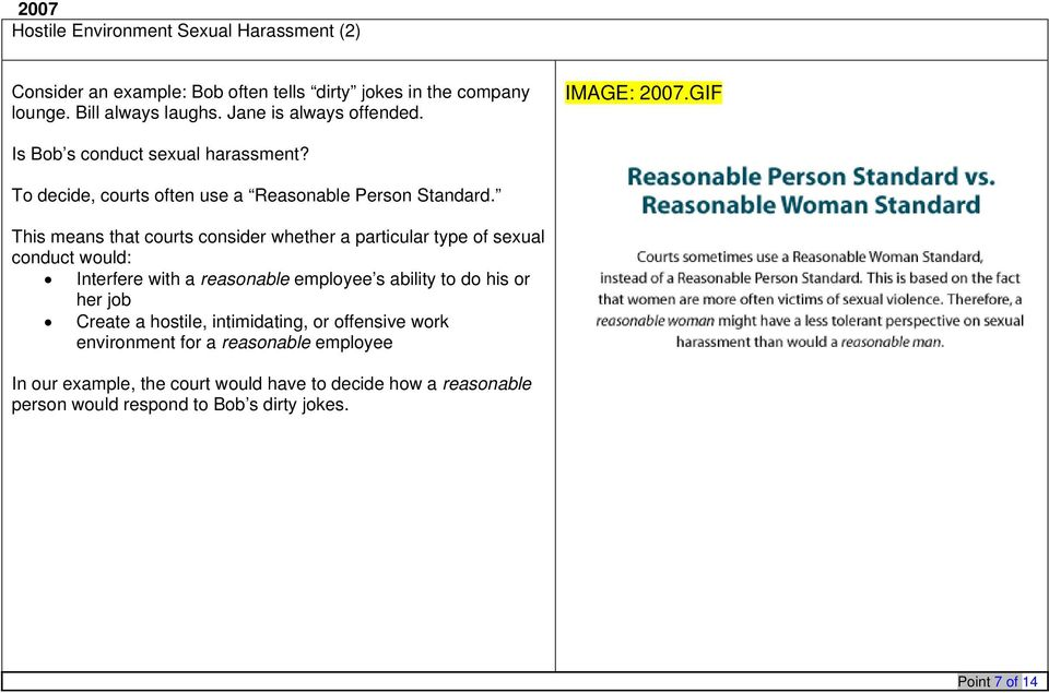 Sexual harassment reasonable person standard