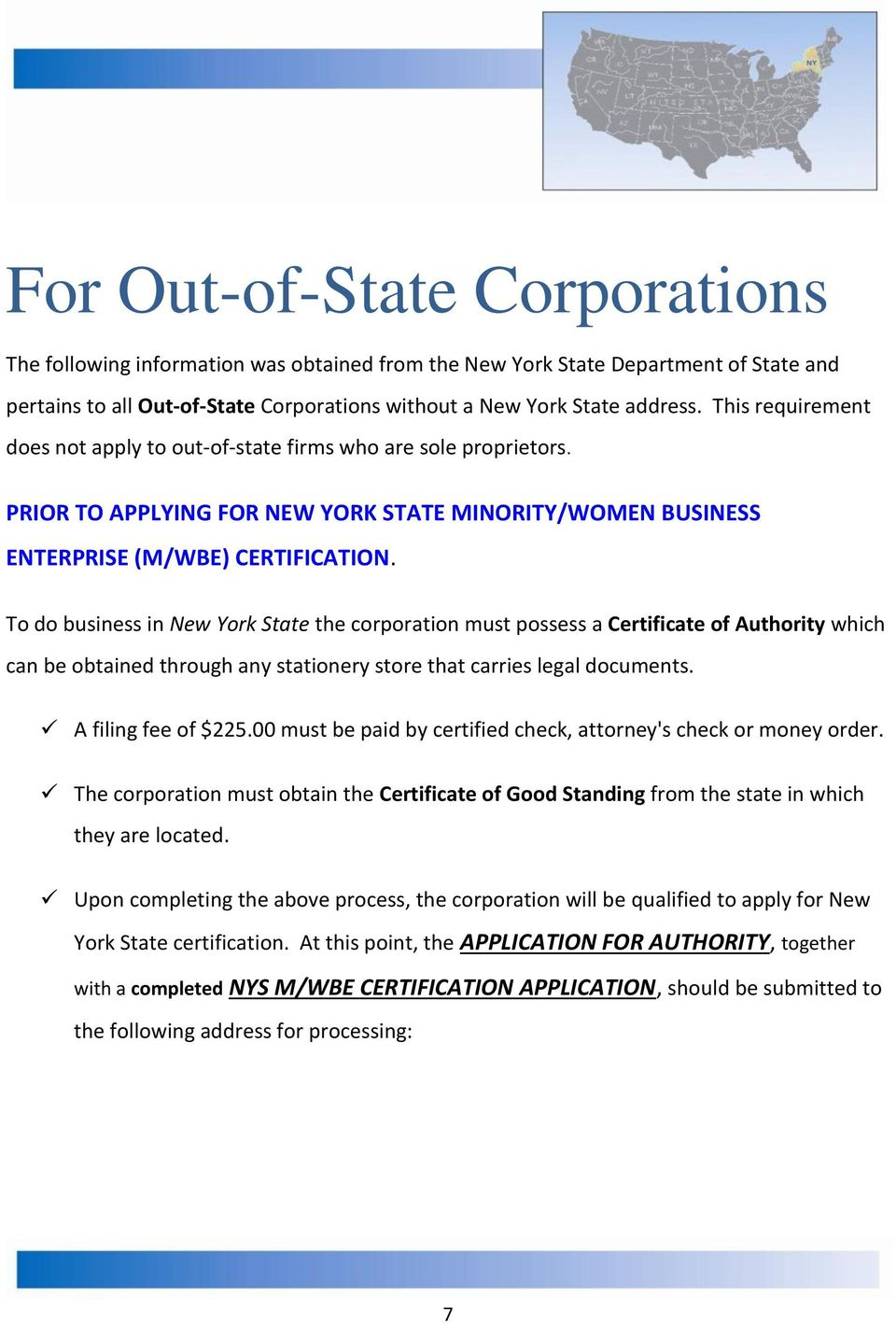 New York State Certification 6 For Out Of State Corporations 7