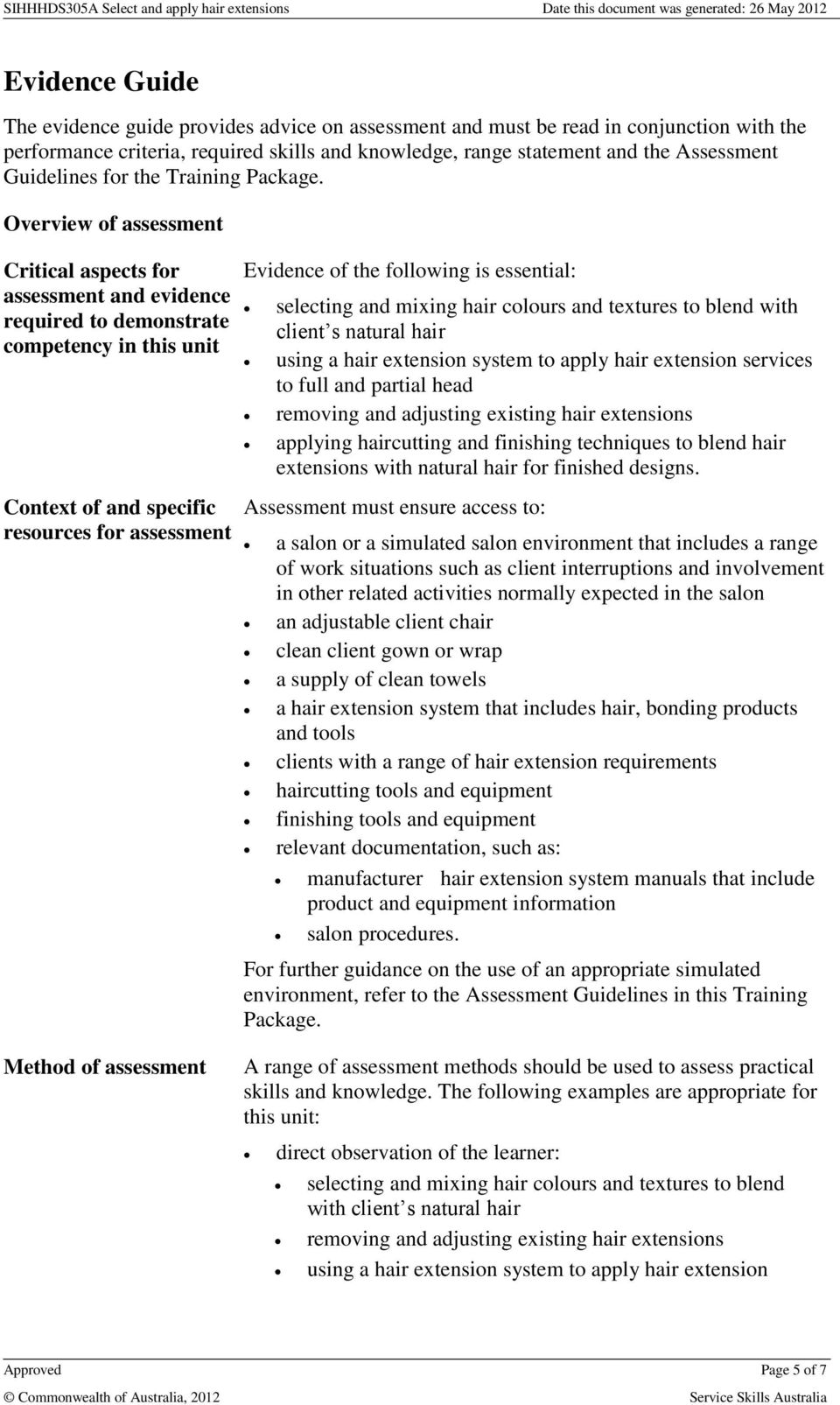 Overview of assessment Critical aspects for assessment and evidence required to demonstrate competency in this unit Context of and specific resources for assessment Evidence of the following is