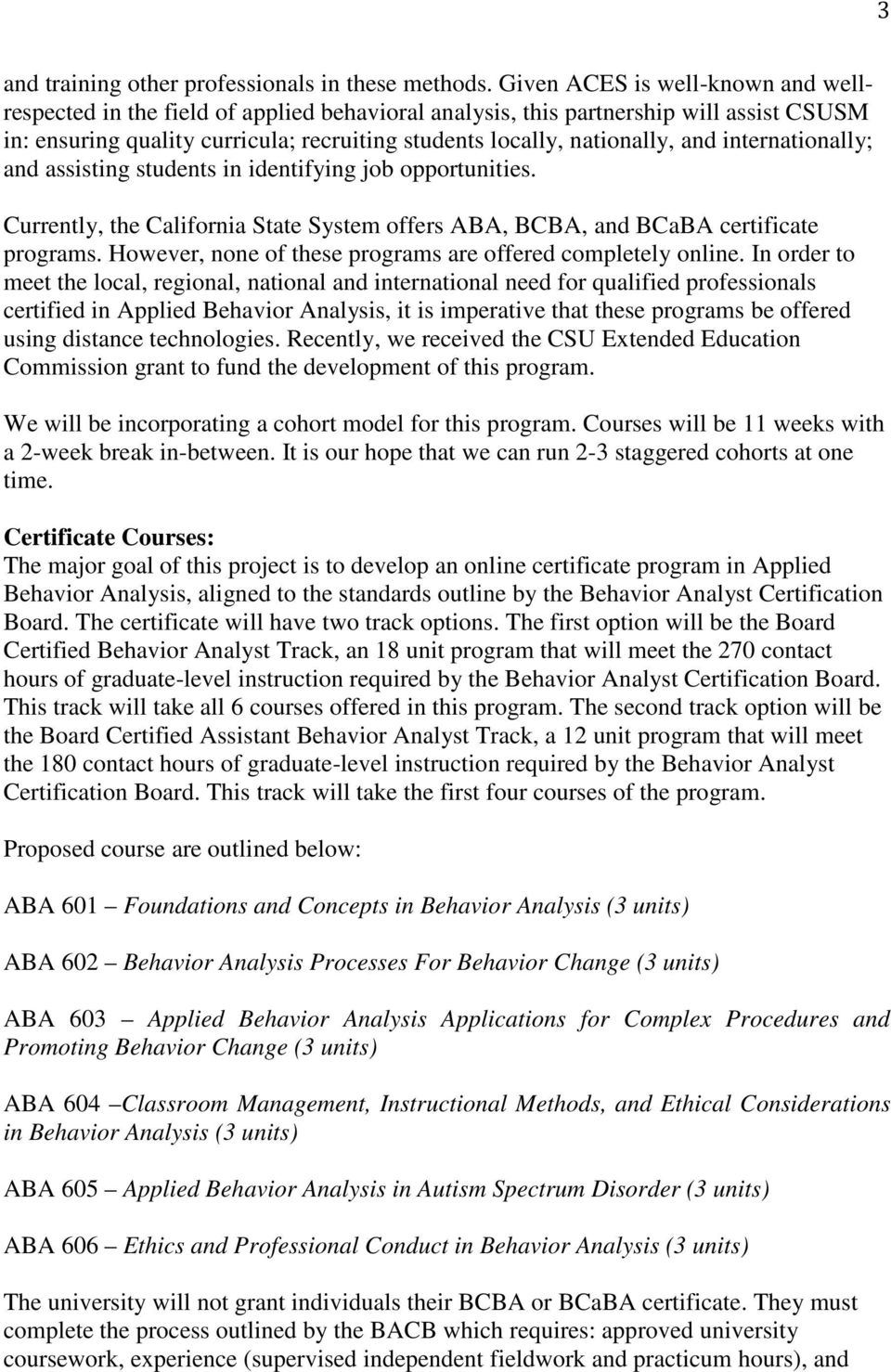 California State University San Marcos Proposal For New Certificate