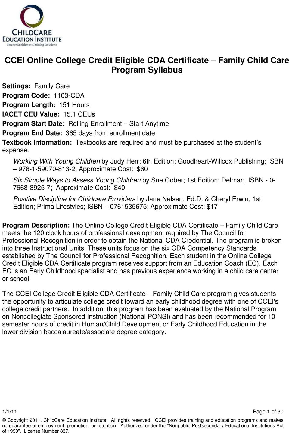 Ccei Online College Credit Eligible Cda Certificate Family Child