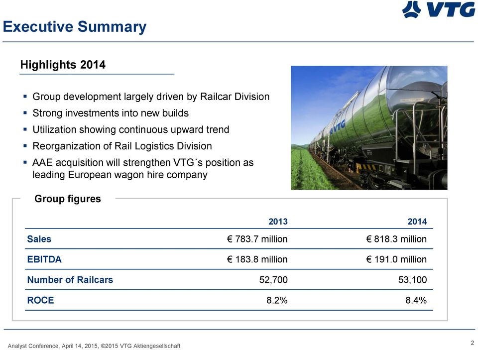 acquisition will strengthen VTG s position as leading European wagon hire company Group figures 2013 2014 Sales
