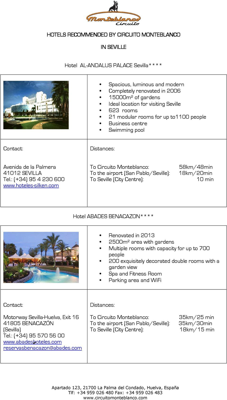 Circuito Monteblanco : Hotels recommended by circuito monteblanco in seville. hotel al