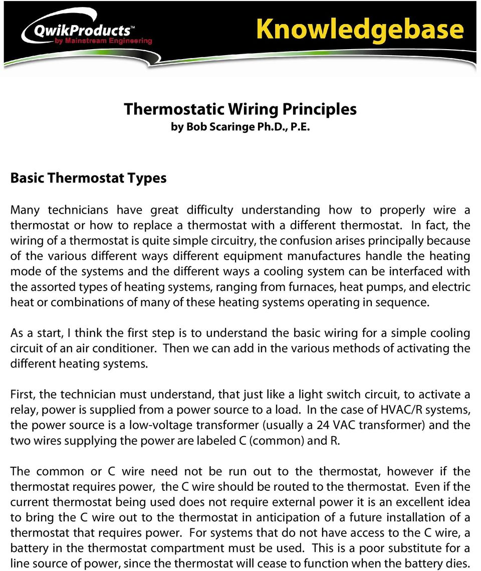 Thermostatic Wiring Principles By Bob Scaringe Phd Pe Pdf Electric Heater Relay In Fact The Of A Thermostat Is Quite Simple Circuitry Confusion Arises