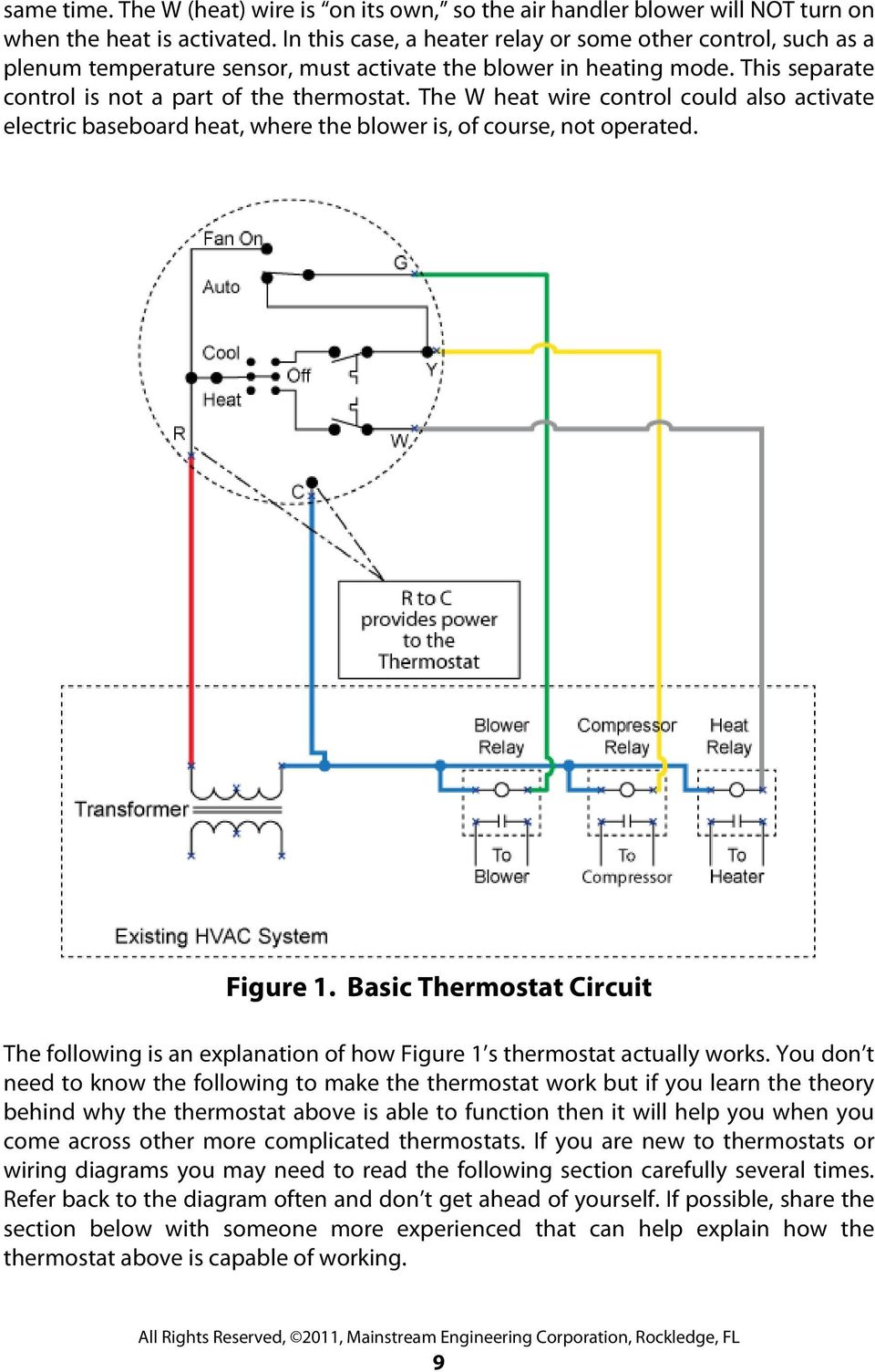 Thermostatic Wiring Principles By Bob Scaringe Phd Pe Pdf Thermostat Delay Relay Timer Circuit Electronic Projects The W Heat Wire Control Could Also Activate Electric Baseboard Where Blower Is
