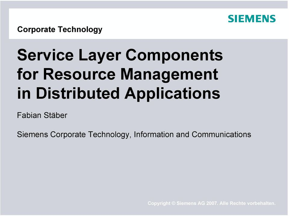 Stäber Siemens Corporate Technology, Information and