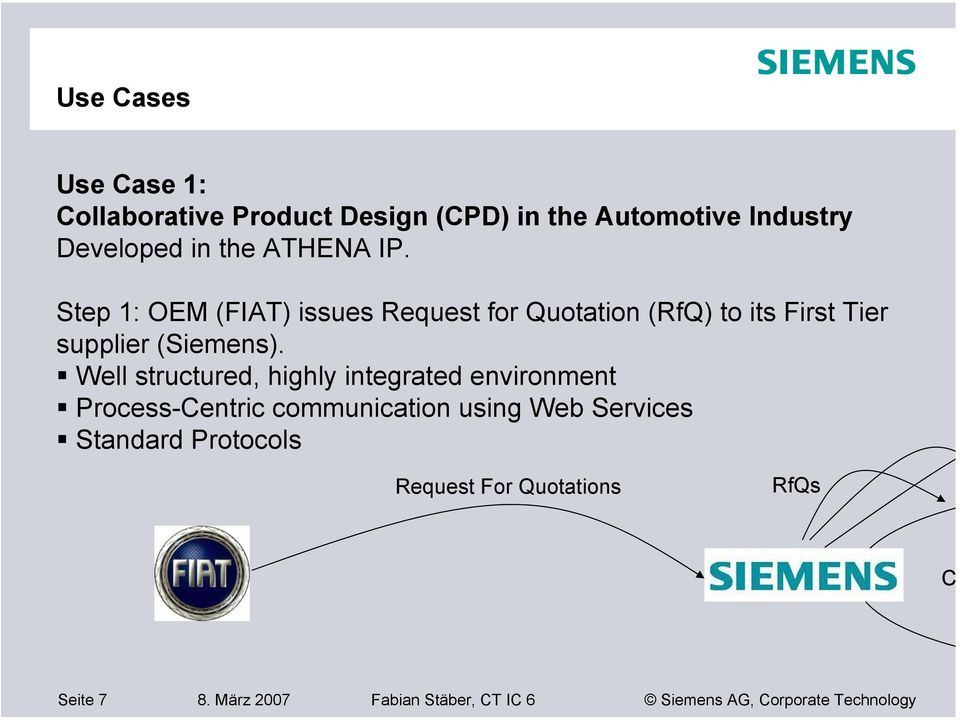 Step 1: OEM (FIAT) issues Request for Quotation (RfQ) to its First Tier supplier (Siemens).