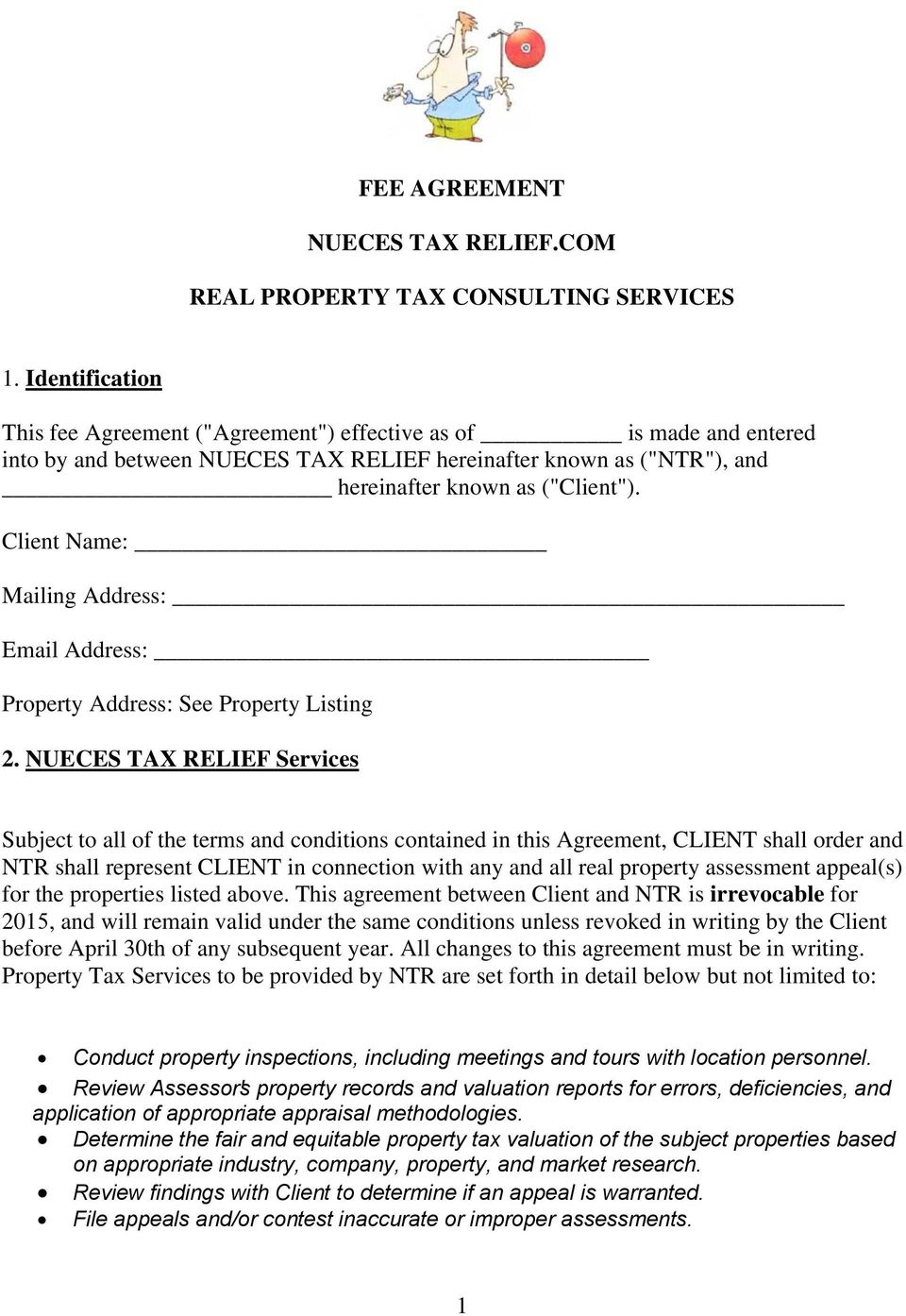 Fee Agreement Nueces Tax Relief Real Property Tax Consulting
