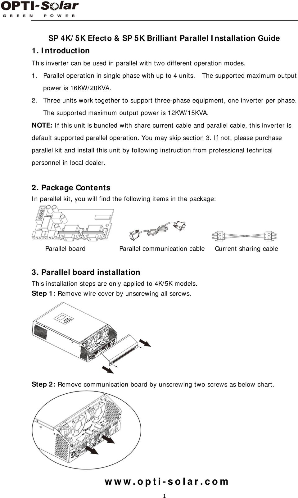 Sp 4k 5k Efecto Brilliant Parallel Installation Guide 1 Port Wiring Diagram Note If This Unit Is Bundled With Share Current Cable And
