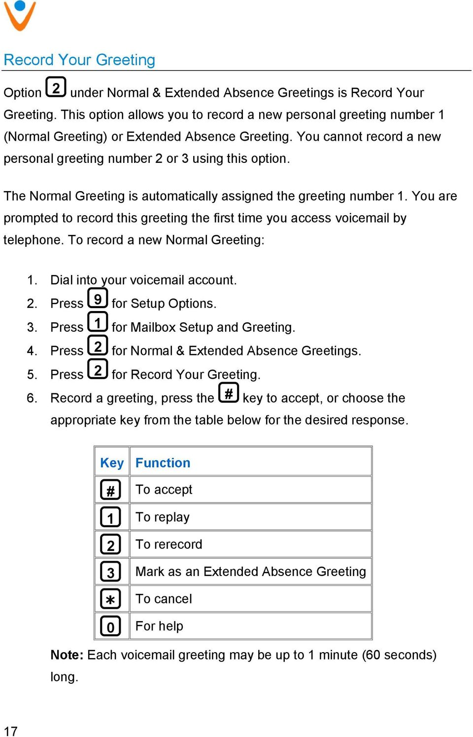 The Normal Greeting is automatically assigned the greeting number 1. You are prompted to record this greeting the first time you access voicemail by telephone. To record a new Normal Greeting: 1.