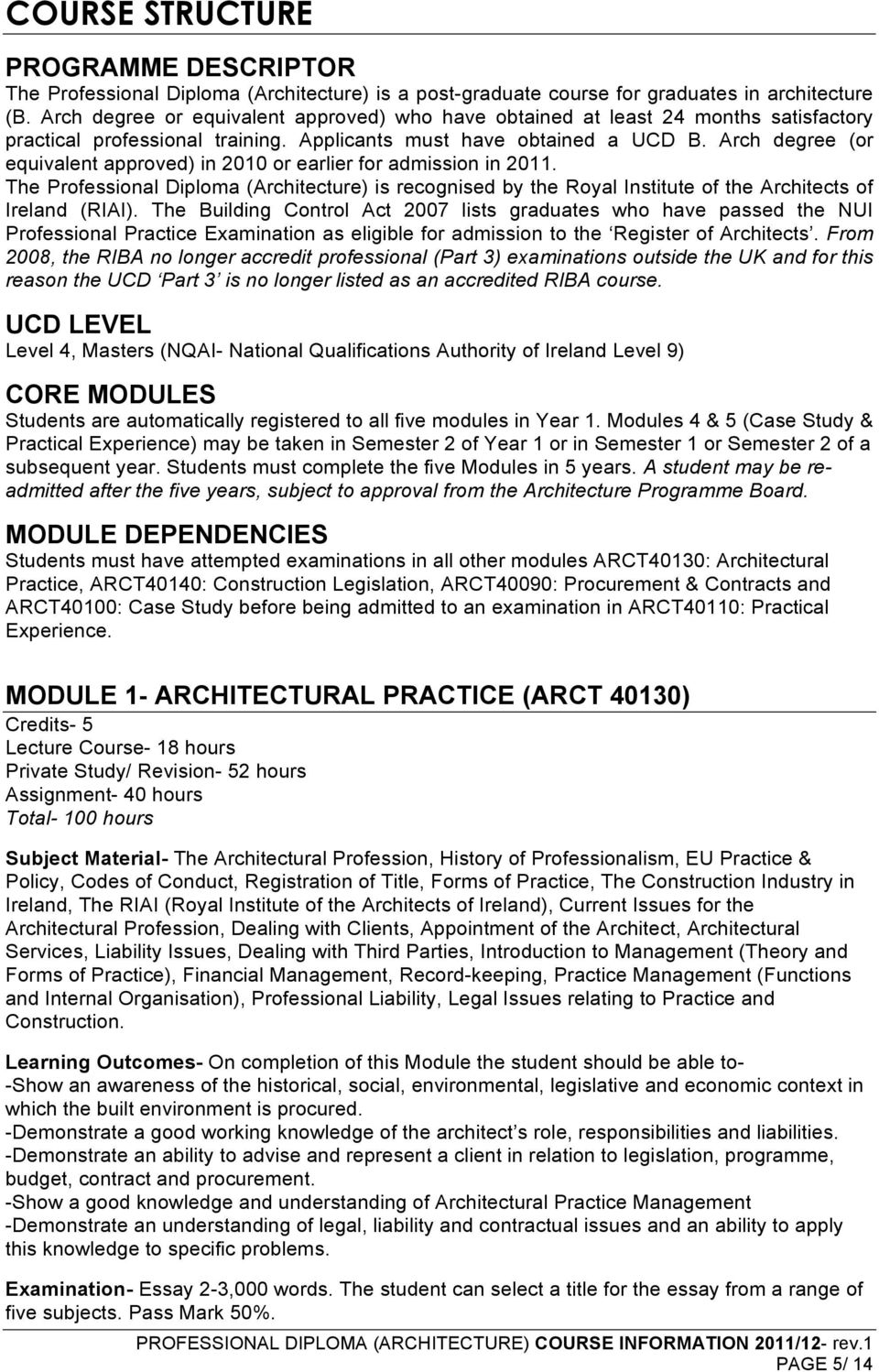 Arch degree (or equivalent approved) in 2010 or earlier for admission in 2011. The Professional Diploma (Architecture) is recognised by the Royal Institute of the Architects of Ireland (RIAI).