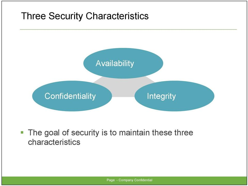 The goal of security is to maintain