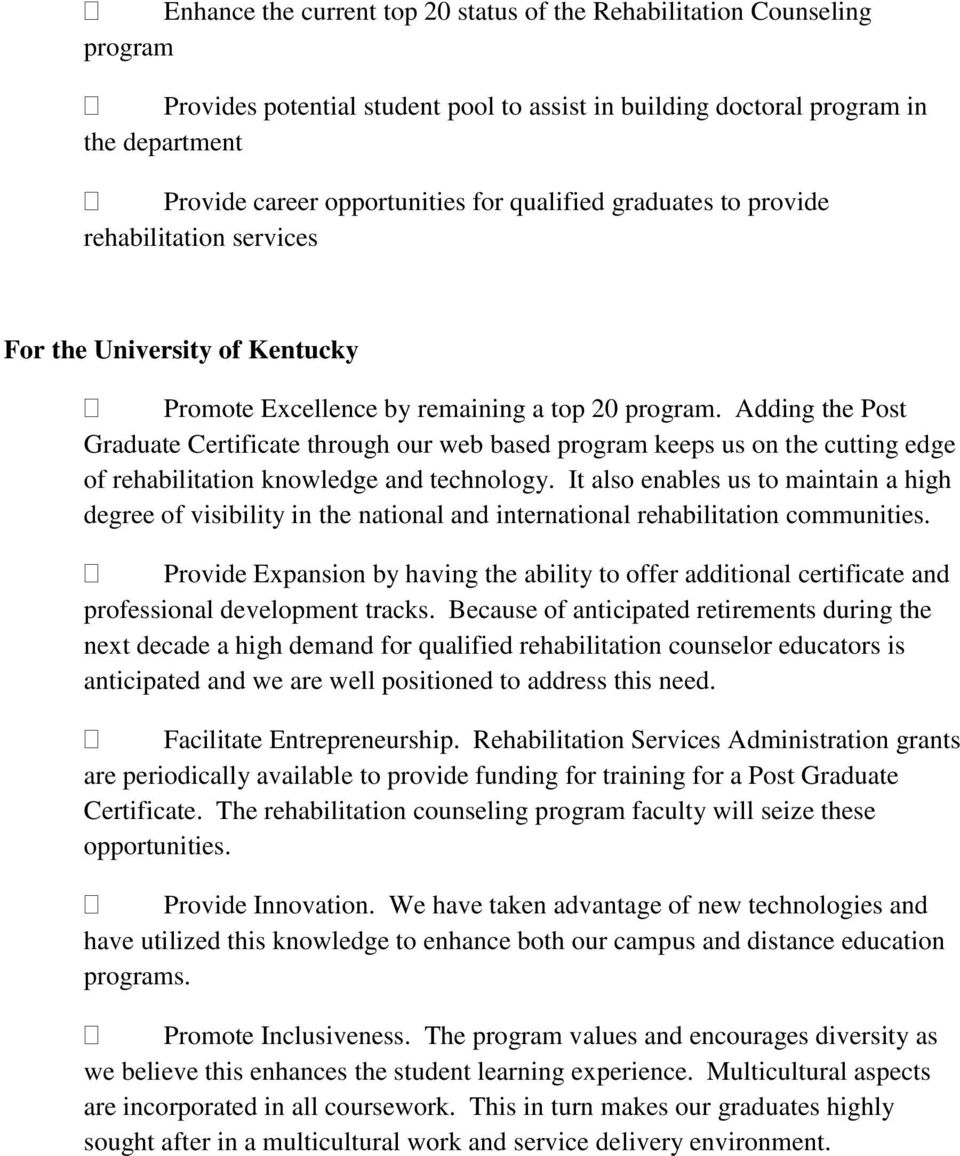 Proposal For A Post Graduate Certificate In Rehabilitation