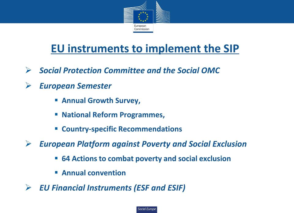 Recommendations European Platform against Poverty and Social Exclusion 64 Actions to