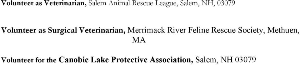 Merrimack River Feline Rescue Society, Methuen, MA