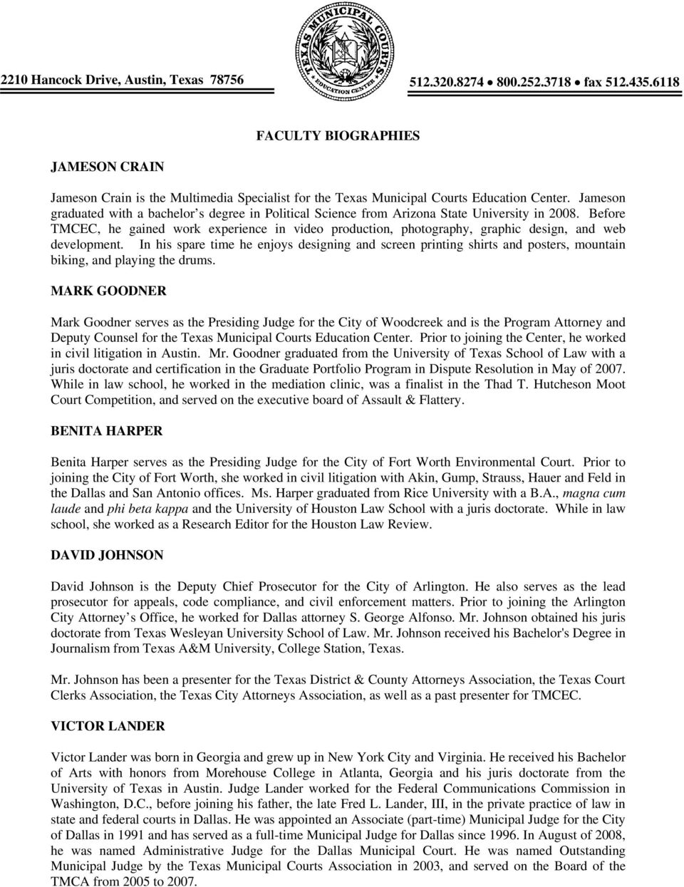 TEXAS MUNICIPAL COURTS EDUCATION CENTER FACULTY ROSTER