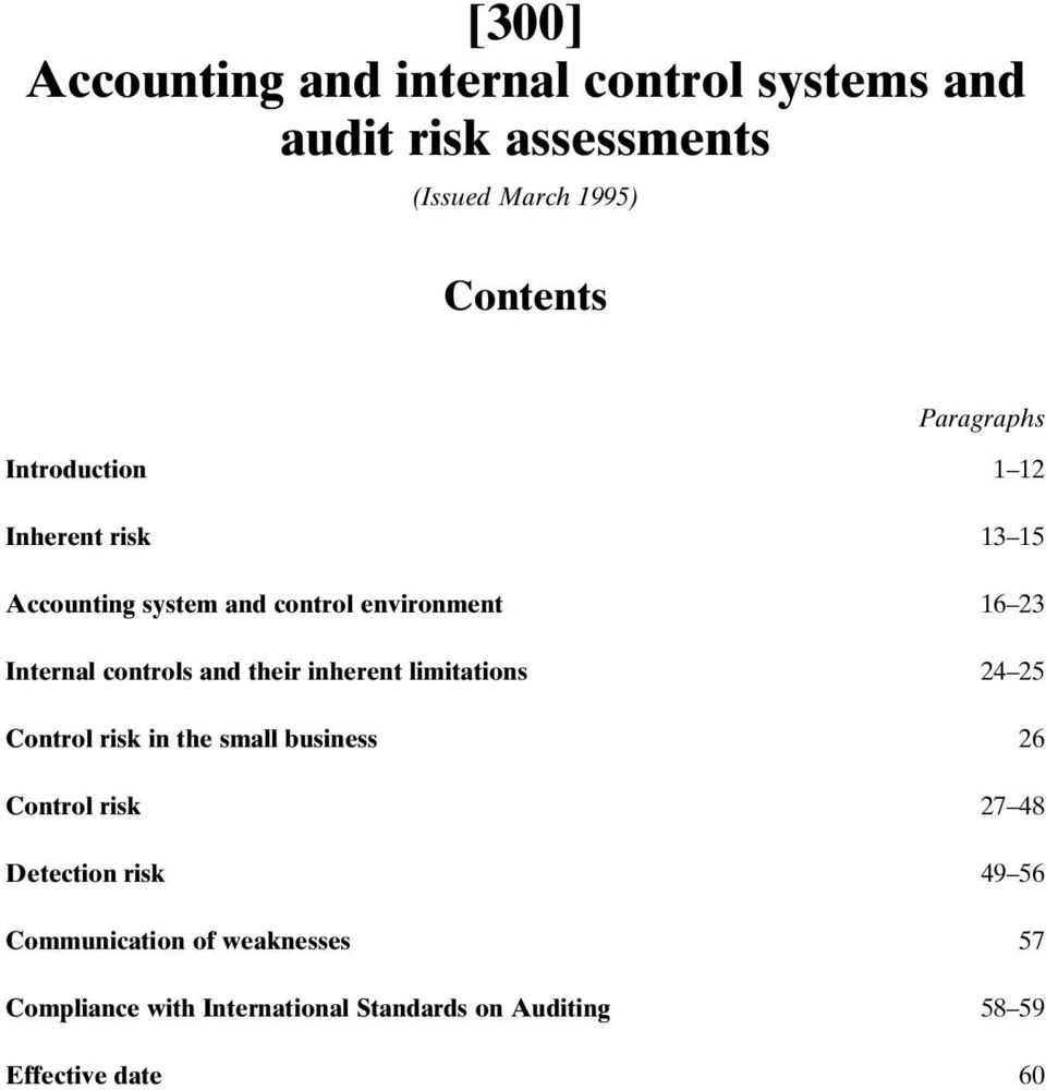 controls and their inherent limitations 24 25 Control risk in the small business 26 Control risk 27 48