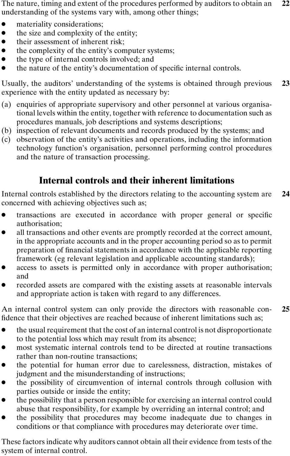 internal controls.