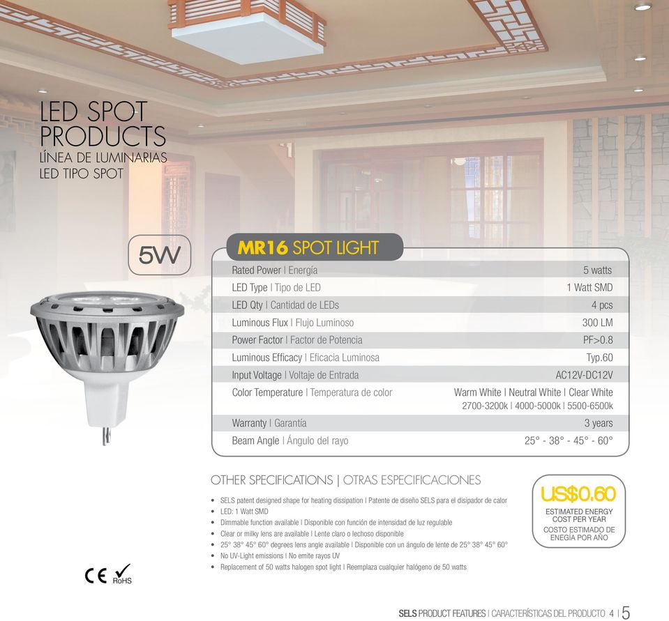 60 AC12V-DC12V Warm White Neutral White Clear White 2700-3200k 4000-5000k 5500-6500k Beam Angle Ángulo del rayo 25-38 - 45-60 SELS patent designed shape for heating dissipation Patente de diseño SELS