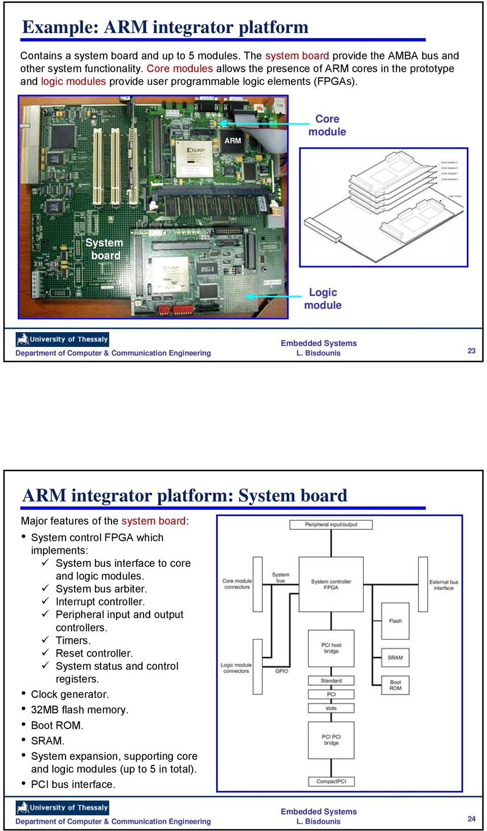 ARM Core module System board Logic module 23 ARM integrator platform: System board Major features of the system board: System control FPGA which implements: System bus interface to core and