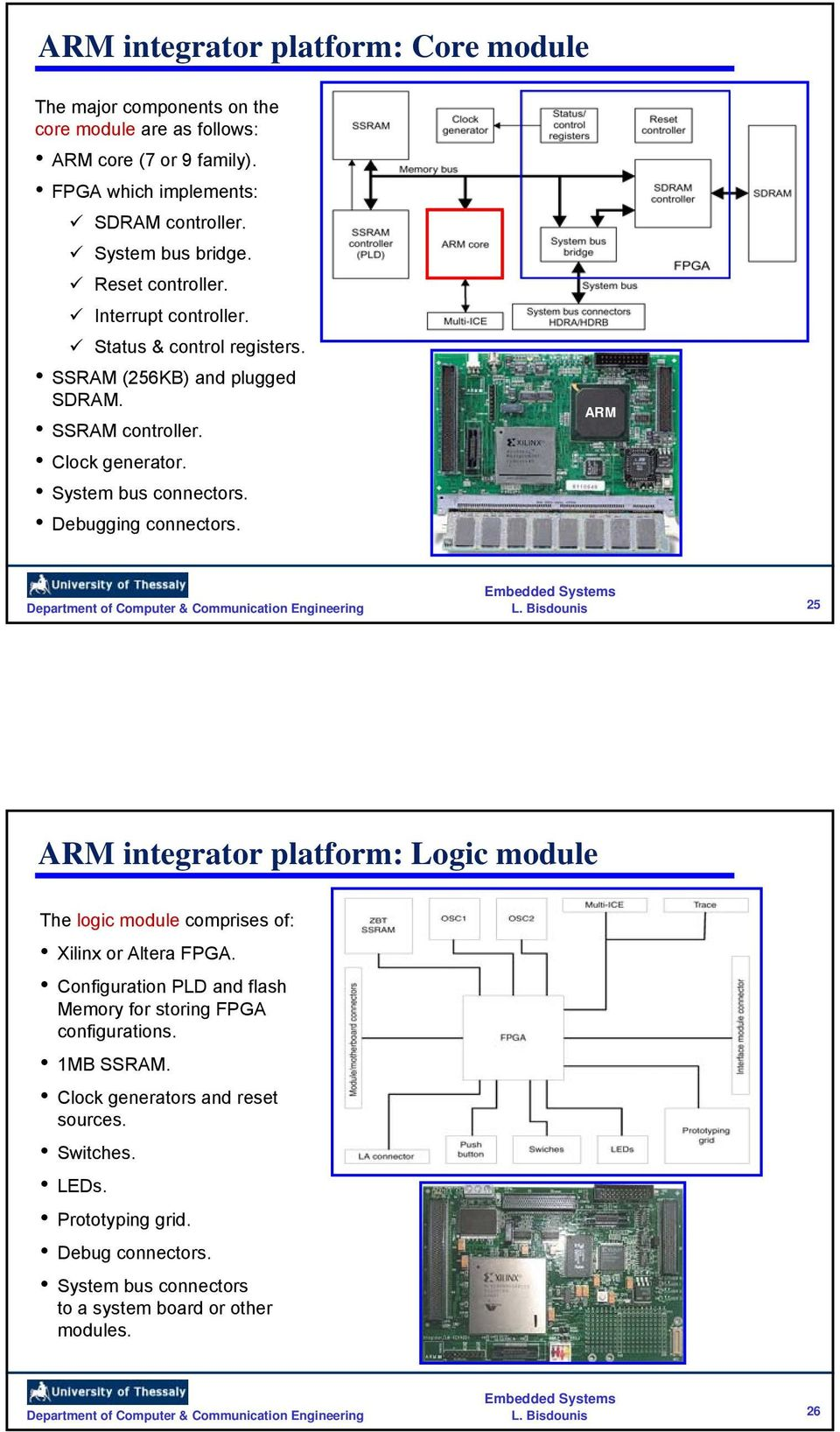System bus connectors. Debugging connectors. ARM 25 ARM integrator platform: Logic module The logic module comprises of: Xilinx or Altera FPGA.