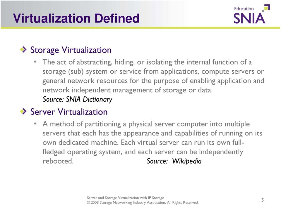 Source: SNIA Dictionary Server Virtualization A method of partitioning a physical server computer into multiple servers that each has the appearance and
