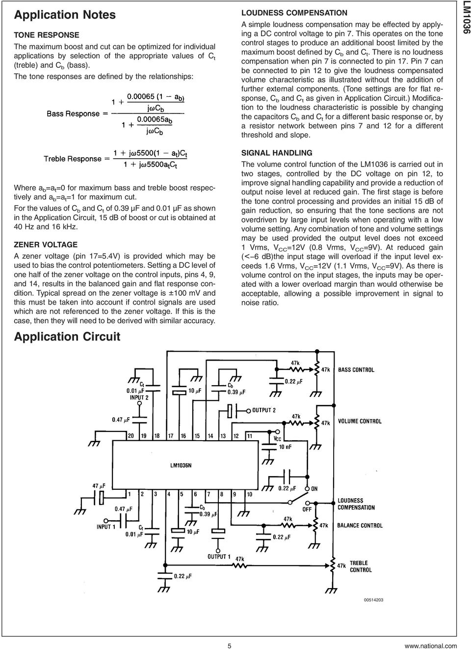 Lm1036 Dual Dc Operated Tone Volume Balance Circuit Pdf 45w Power Amplifier Include Control 01 F As Shown In The Application 15 Db Of Boost Or Cut Is