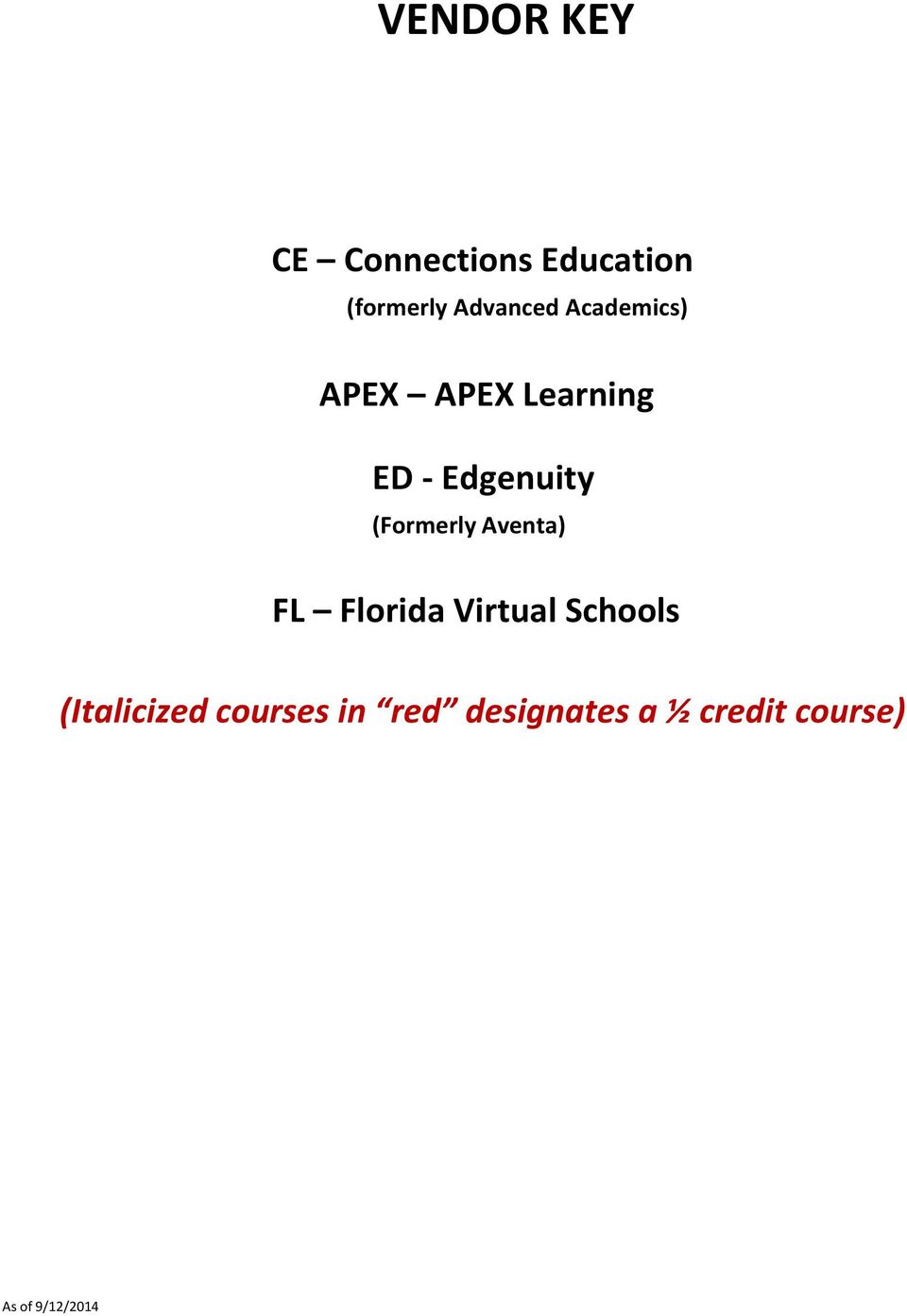Aventa) FL Florida Virtual Schools (Italicized courses