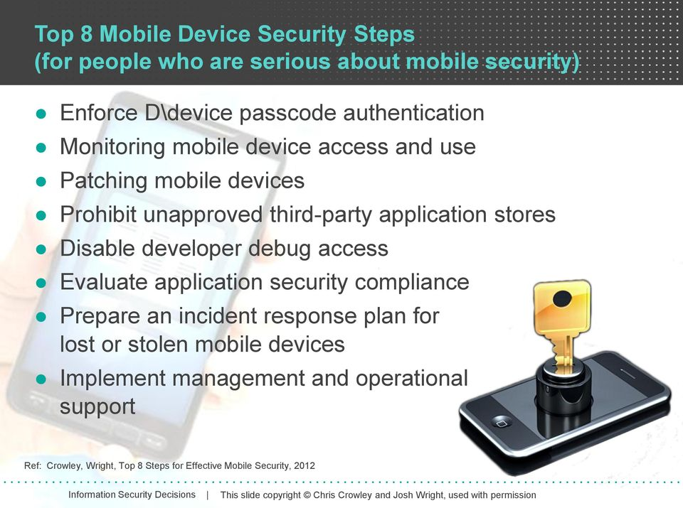 compliance Prepare an incident response plan for lost or stolen mobile devices Implement management and operational support Ref: Crowley, Wright, Top 8 Steps