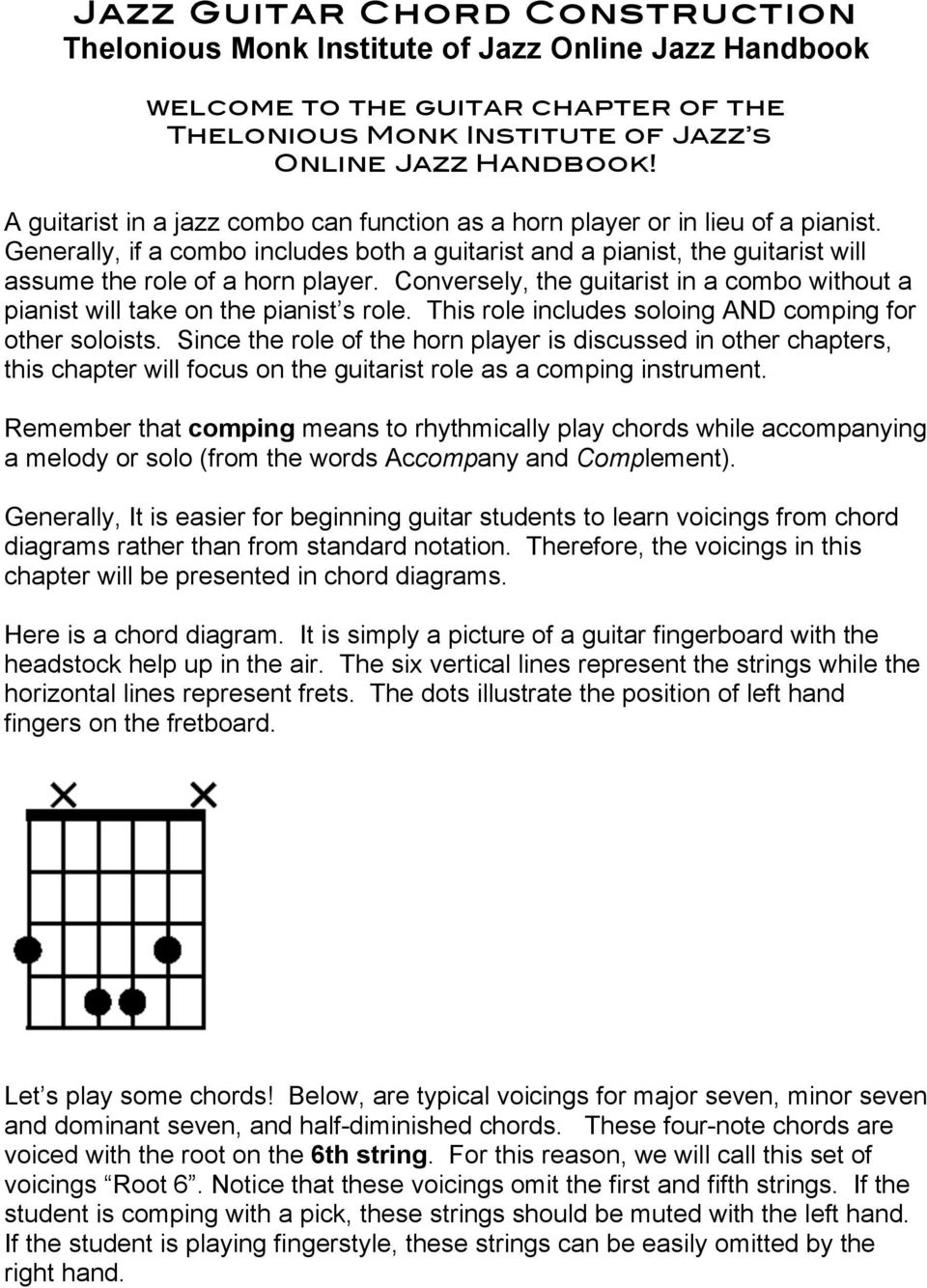 Jazz Guitar Chord Construction Thelonious Monk Institute Of Jazz