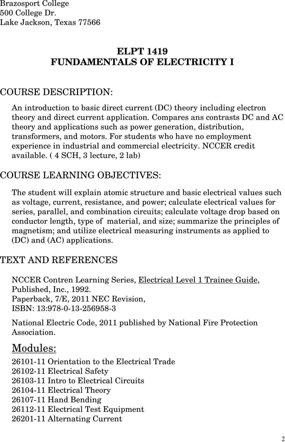 Elpt 1419 Fundamentals Of Electricity I Pdf Ac Dc Theory Circuits Compares Ans Contrasts And Applications Such As Power Generation Distribution