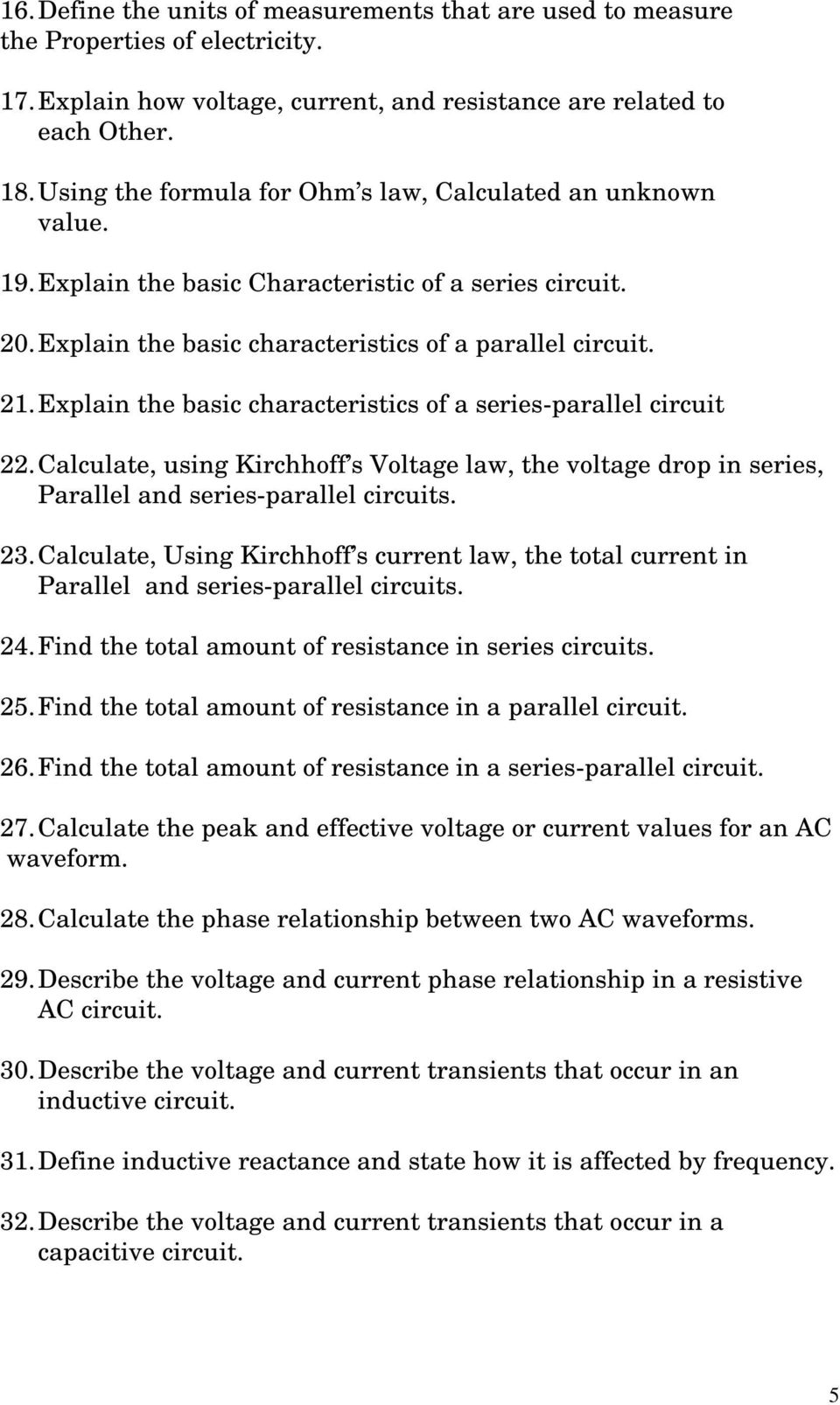 Elpt 1419 Fundamentals Of Electricity I Pdf Figure 21 Voltage Total In A Series Circuit Explain The Basic Characteristics Parallel 22 Calculate Using Kirchhoff