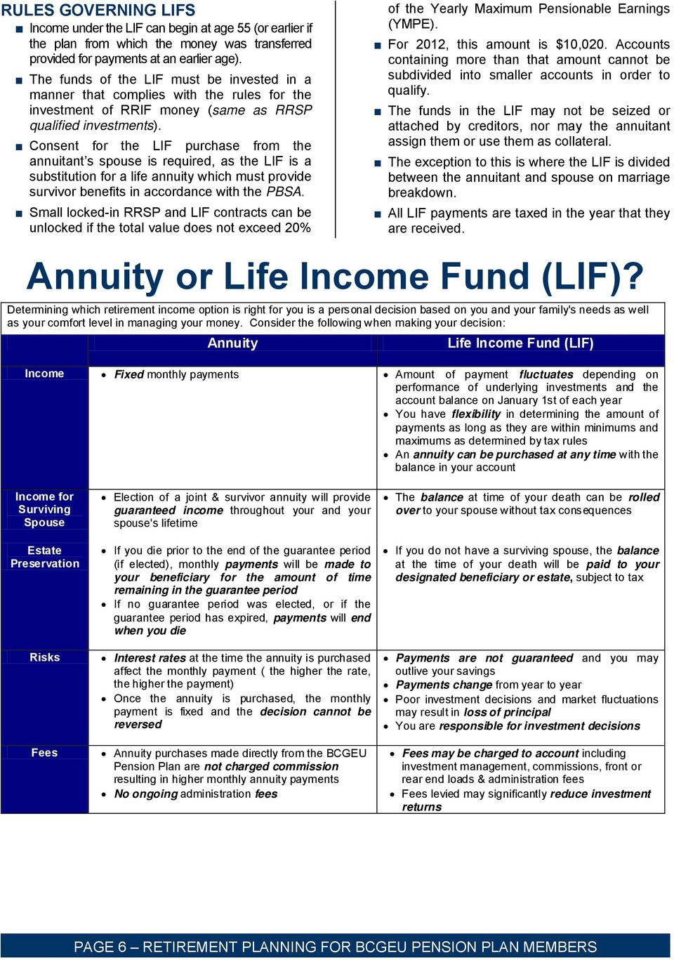 Consent for the LIF purchase from the annuitant s spouse is required, as the LIF is a substitution for a life annuity which must provide survivor benefits in accordance with the PBSA.