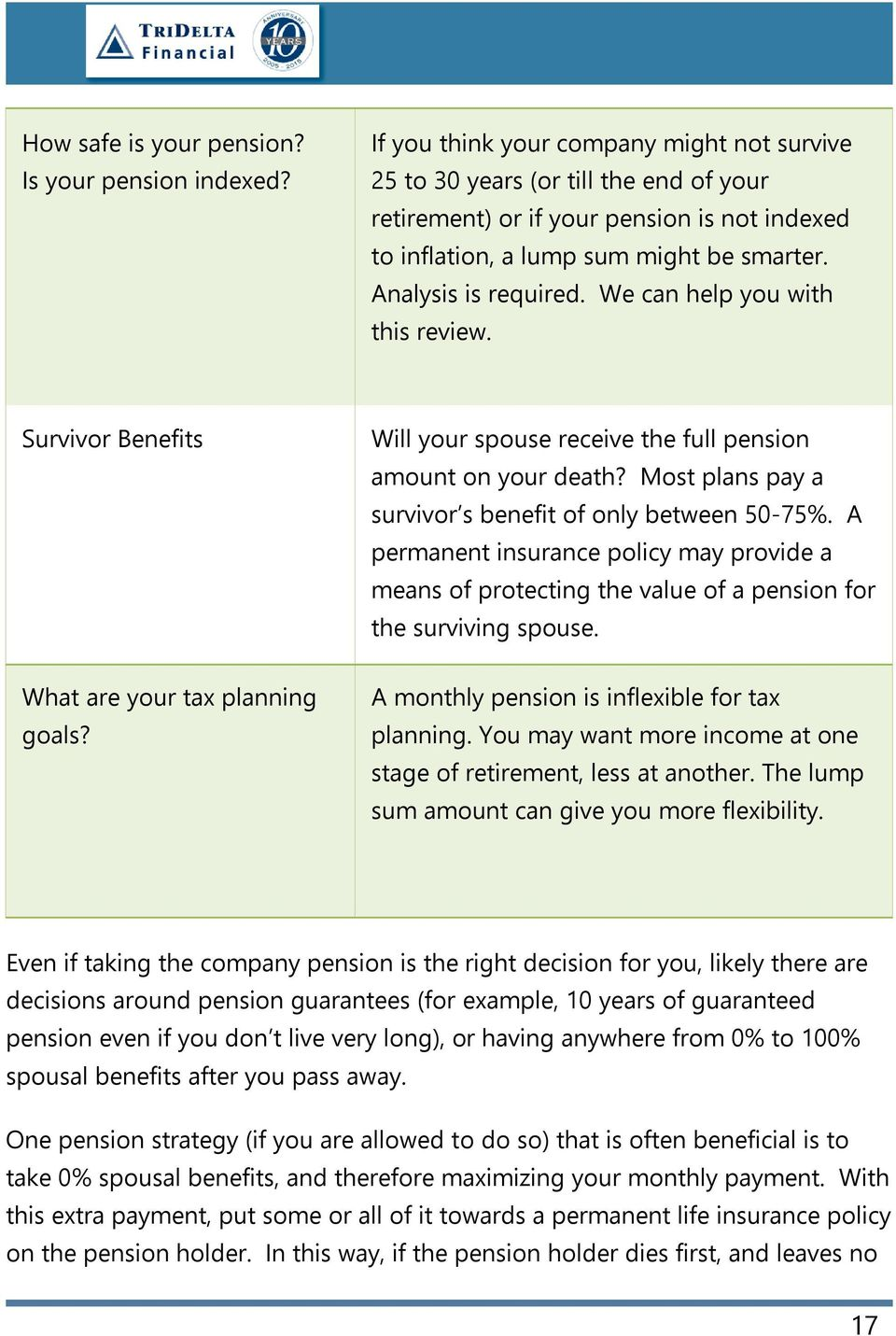 We can help you with this review. Survivor Benefits Will your spouse receive the full pension amount on your death? Most plans pay a survivor s benefit of only between 50-75%.
