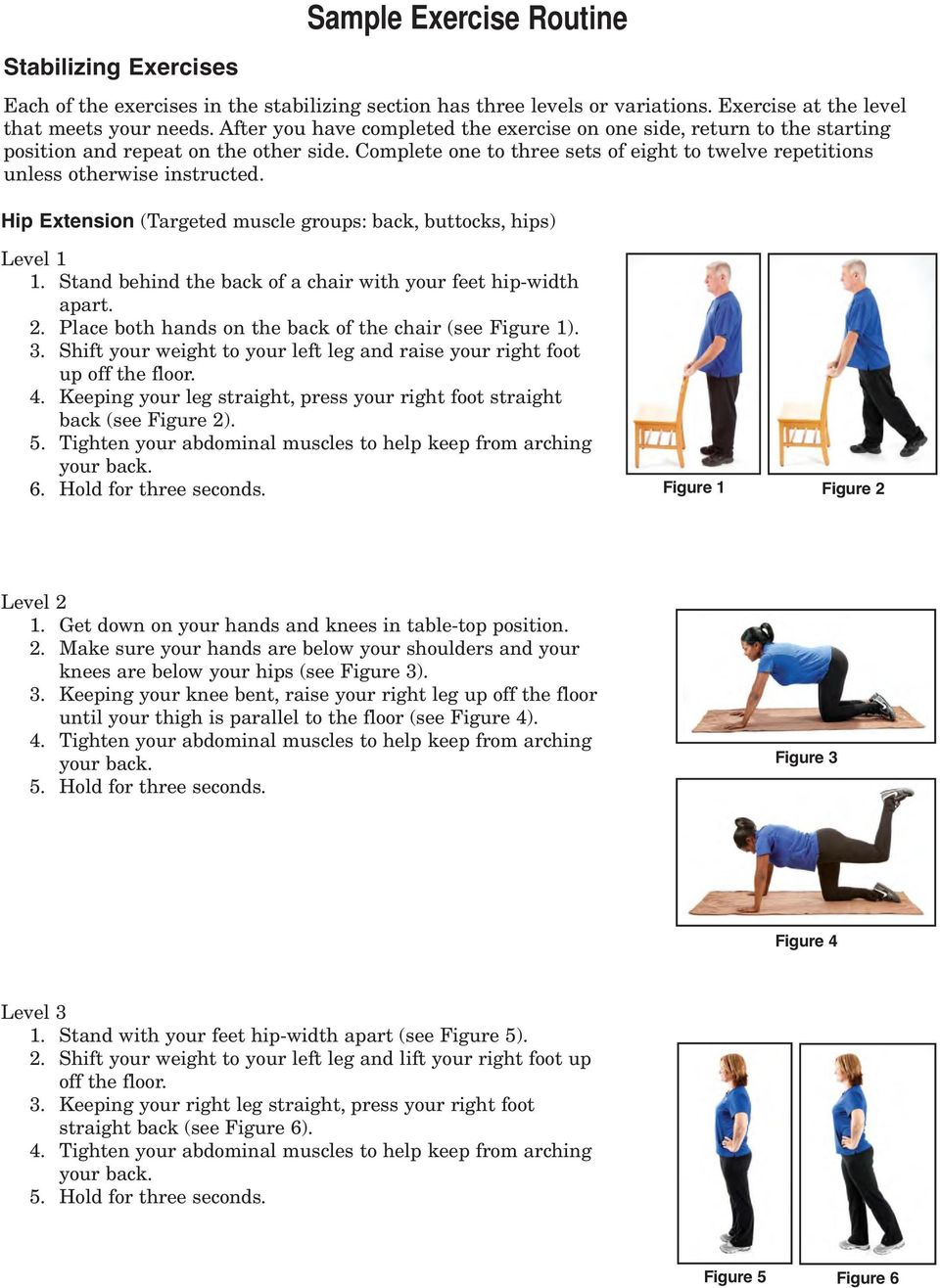 Hip Extension (Targeted muscle groups: back, buttocks, hips) 1. Stand behind the back of a chair with your feet hip-width apart. 2. Place both hands on the back of the chair (see Figure 1). 3.