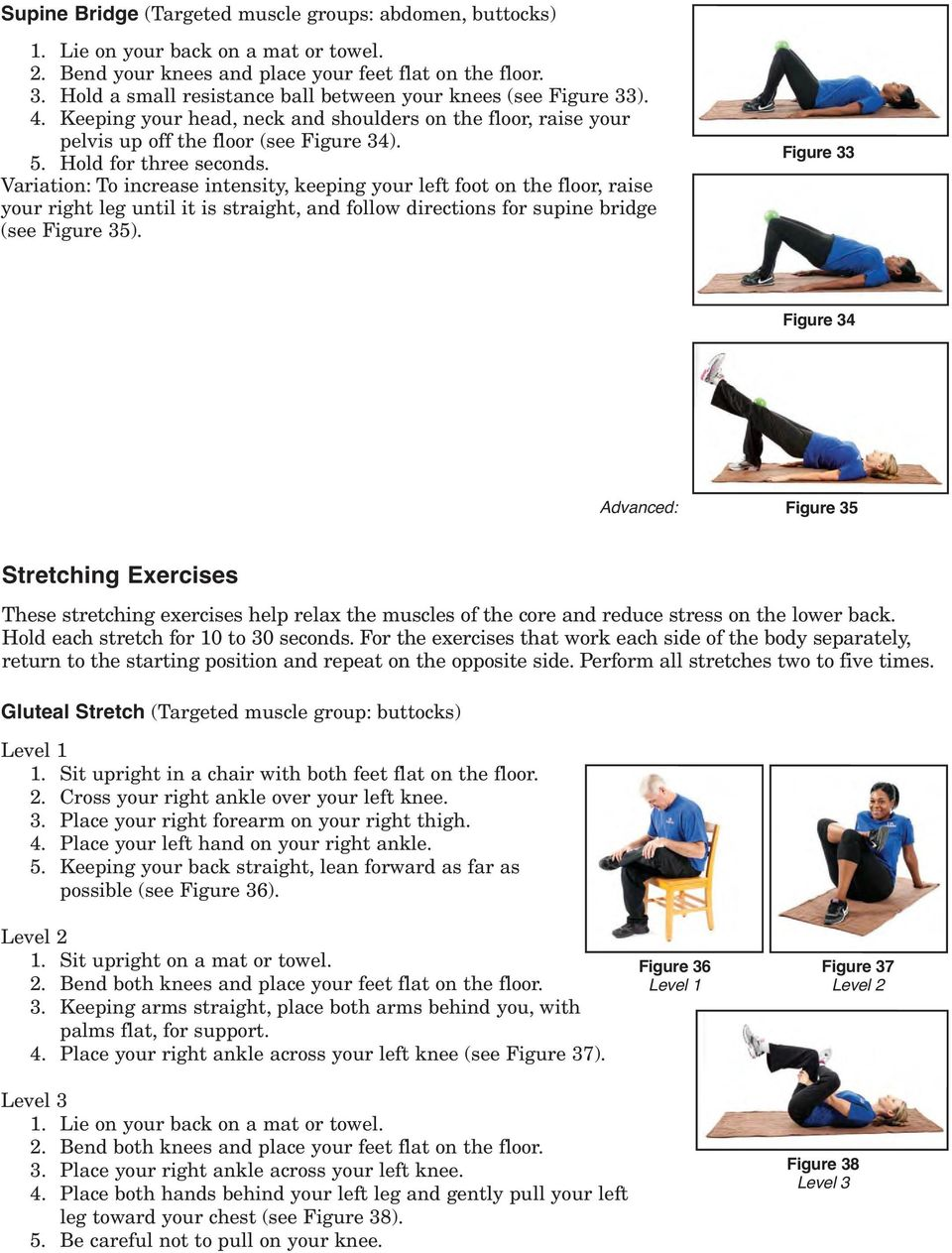Variation: To increase intensity, keeping your left foot on the floor, raise your right leg until it is straight, and follow directions for supine bridge (see Figure 35).