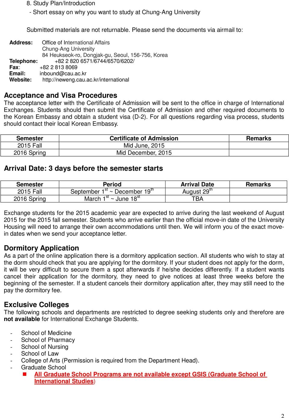 Application and Admission Procedures - PDF