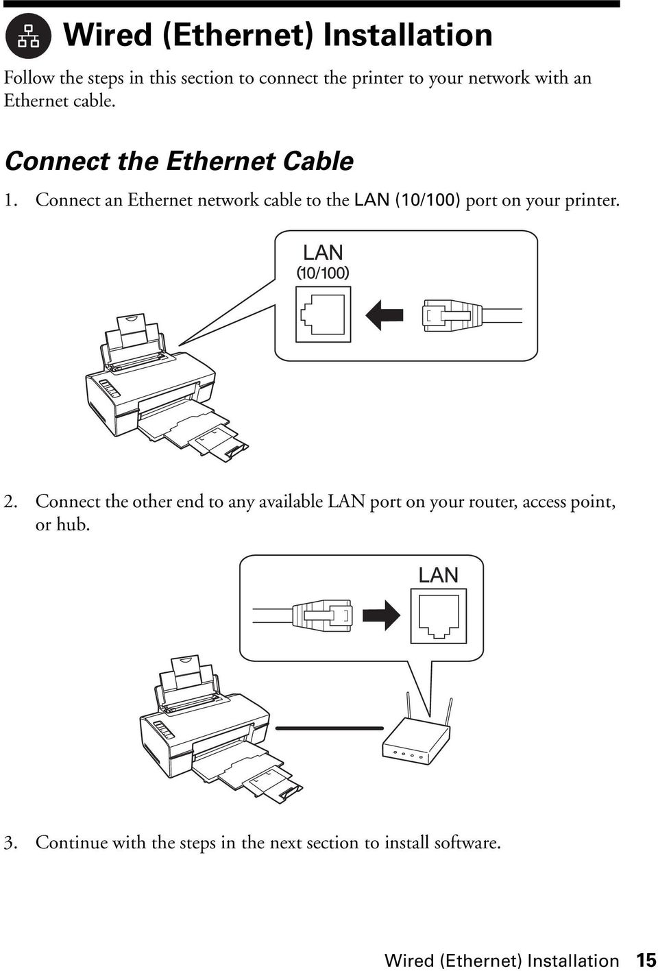 Network Installation Guide Pdf Ethernet Wiring Instructions Connect An Cable To The Lan 10 100 Port On Your