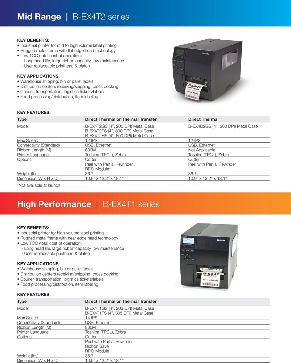 The performance leader in thermal barcode printers  - PDF