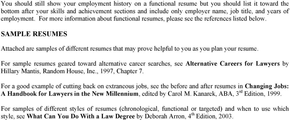 SAMPLE RESUMES Attached are samples of different resumes that may prove helpful to you as you plan your resume.