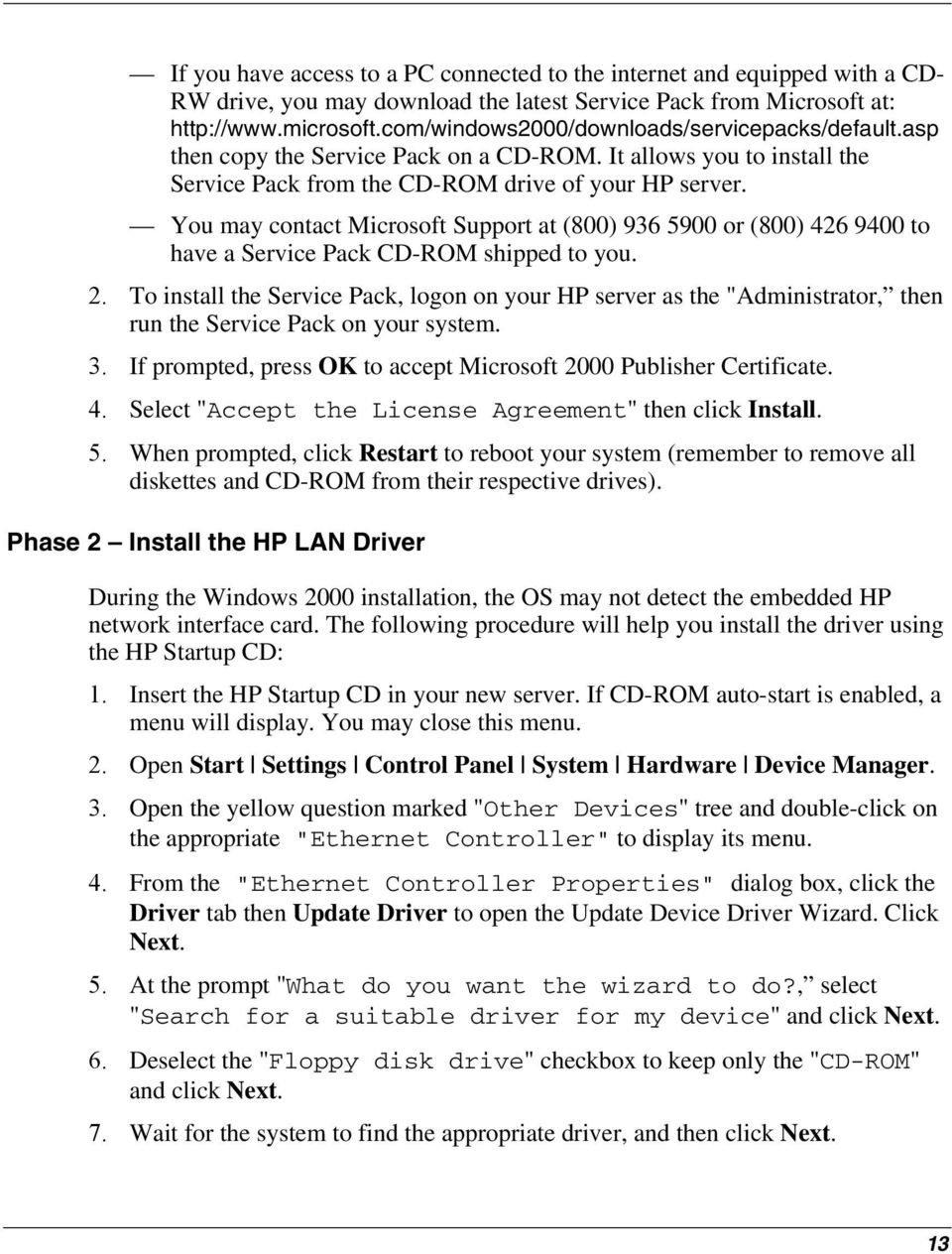 HP Server tc2120 Network Operating System Installation Guide