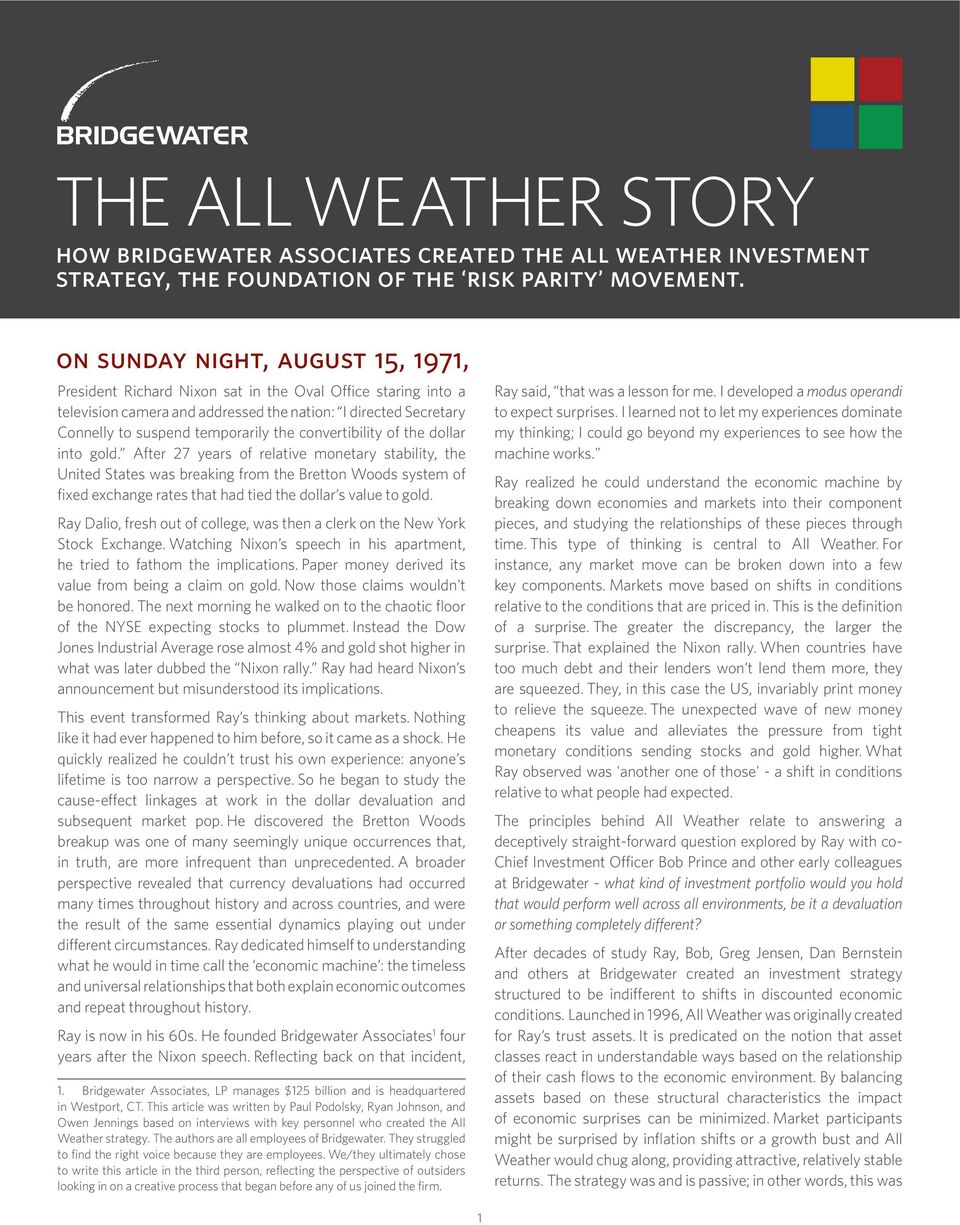 THE ALL WEATHER STORY how bridgewater associates created the all