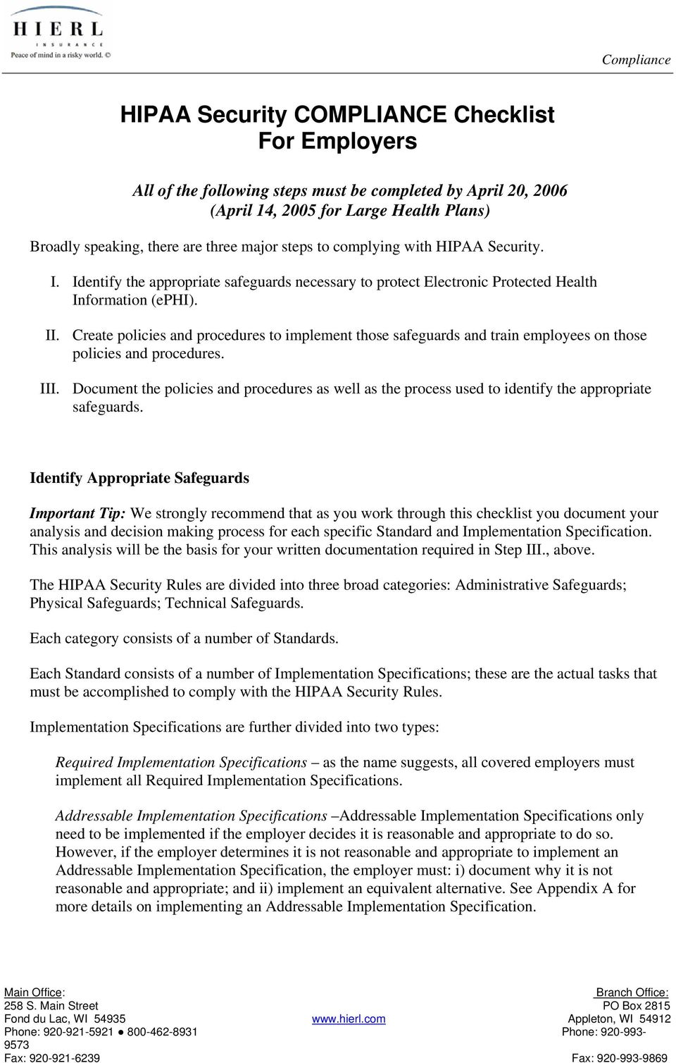 HIPAA Security COMPLIANCE Checklist For Employers - PDF