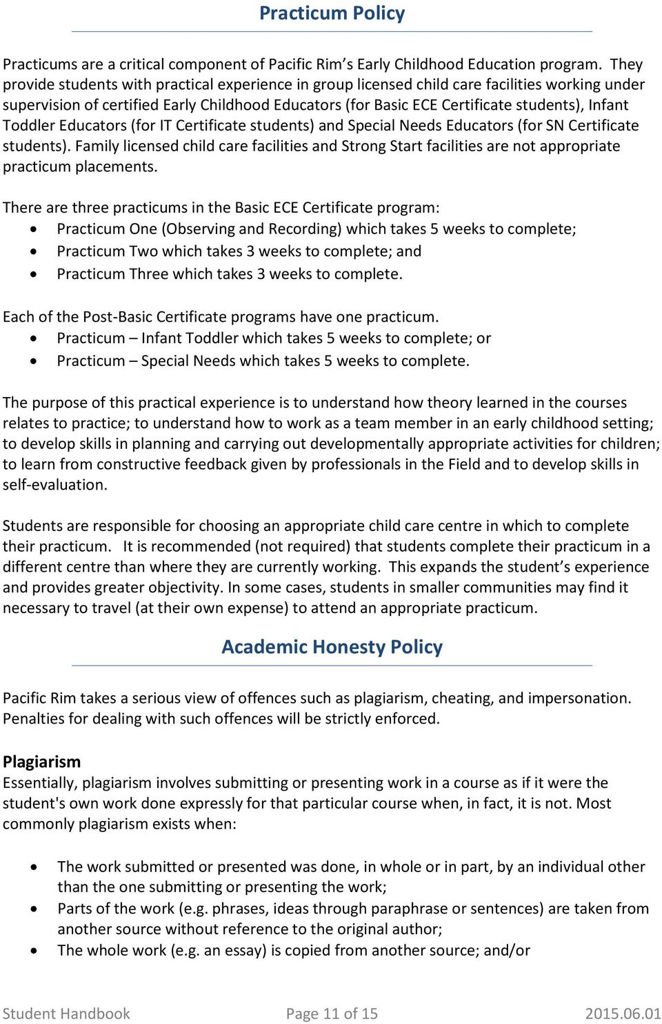 Student Handbook Information Package Pacific Rim Early Childhood