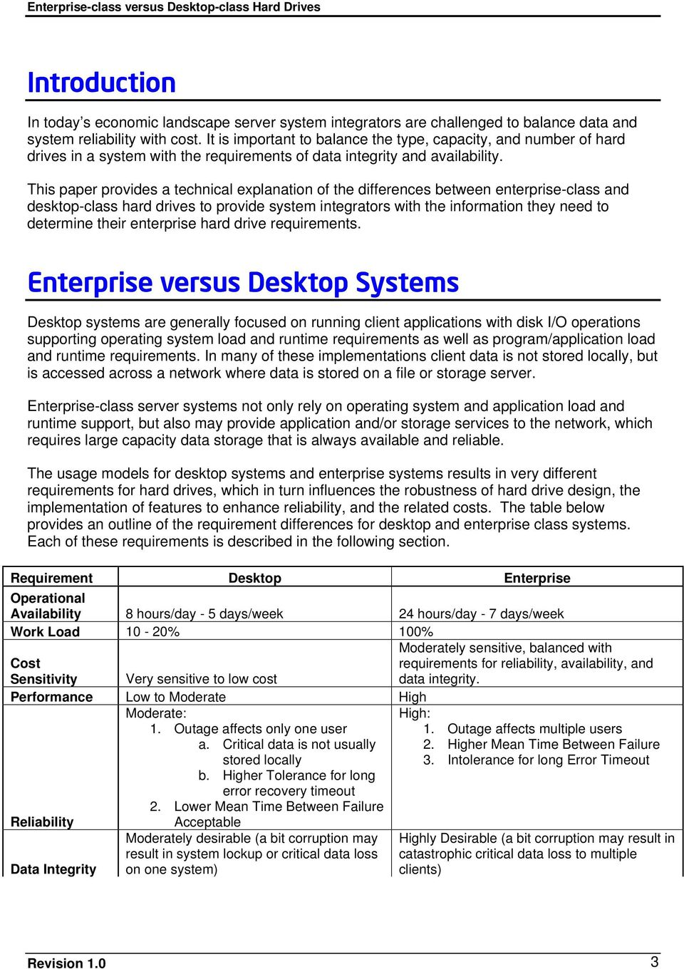 This paper provides a technical explanation of the differences between enterprise-class and desktop-class hard drives to provide system integrators with the information they need to determine their