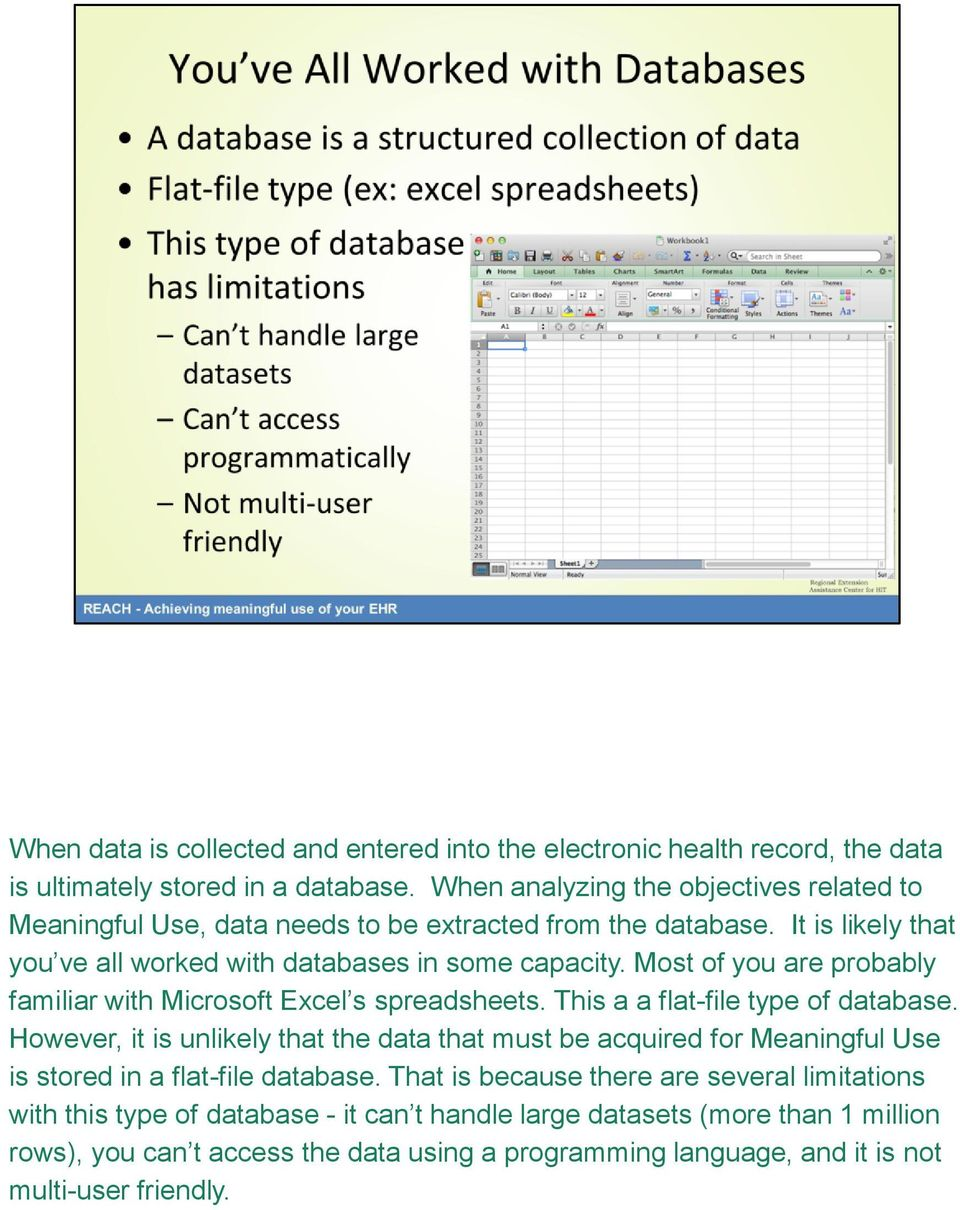Most of you are probably familiar with Microsoft Excel s spreadsheets. This a a flat-file type of database.